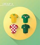与球衣的世界杯小组a 免版税库存图片