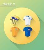 与球衣的世界杯小组c 库存照片
