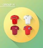与球衣的世界杯小组h 库存照片