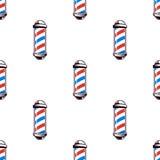 与理发师杆的五颜六色的无缝的样式,葡萄酒传染媒介例证 向量例证