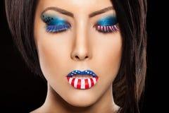 与理想的构成的妇女美丽的表面 免版税库存照片
