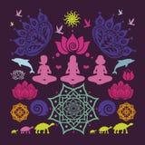 与瑜伽的海报摆在花卉坛场莲花动物和许多 免版税库存图片