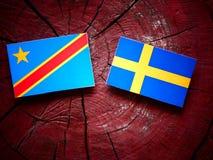 与瑞典旗子的刚果民主共和国旗子在tre 图库摄影