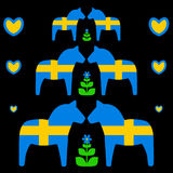 与瑞典旗子的Dala马 库存图片