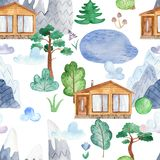 与瑞士山中的牧人小屋房子,山,湖,云彩,森林的水彩无缝的样式 向量例证