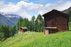 与瑞士山中的牧人小屋的美好的农村风景在Tasch附近 库存图片