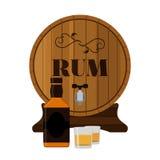 与瓶的兰姆酒木在平的样式的桶和射击 库存图片