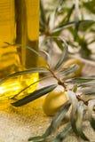 与瓶的绿橄榄油 免版税图库摄影
