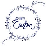 与甜复活节快乐的深蓝花框架卡片签到与逗人喜爱的兔宝宝的蓝色 花蓝色边界,蓝色兔子 皇族释放例证