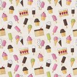 与甜点冰淇凌和蛋糕的抽象无缝的背景样式在平的样式 也corel凹道例证向量 时髦 免版税库存图片