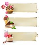 与甜点和糖果的横幅 免版税库存照片