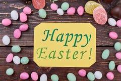 与甜点的愉快的复活节卡片 图库摄影
