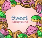 与甜点的抽象背景 库存照片