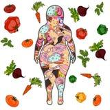 与甜点的肥胖女性剪影 向量 向量例证