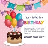 与甜蛋糕的生日快乐邀请 向量例证