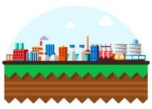 与生态概念的全球性工业工厂技术过程 地球在结构白色的查出的设计 平的例证  向量例证