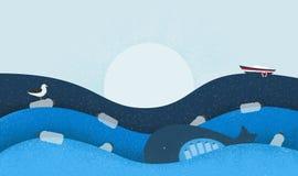 与生态题材的海报:塑料污染在海洋 与塑料瓶的鲸鱼在胃,海鸟坐Fl 库存图片