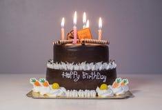与生日光蜡烛的巧克力蛋糕 库存图片