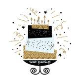 与生日快乐愿望的逗人喜爱的蛋糕 现代贺卡模板 创造性的生日快乐背景 免版税库存图片