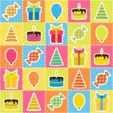 与生日聚会的元素的无缝的样式 库存照片