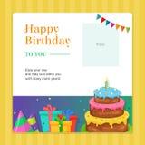 与生日蛋糕和礼物盒例证的生日快乐现代邀请卡片模板 免版税库存图片