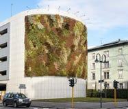 与生长在门面的植物的绿色大厦 生态和绿色生活在城市,城市环境概念 天空的公园,  免版税库存图片