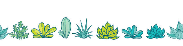 与生长多汁植物和仙人掌的传染媒介蓝绿色无缝的水平的重复样式边界在罐 时髦热带 免版税图库摄影