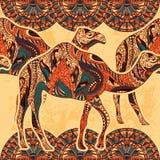 与用东方装饰品和埃及五颜六色的花饰装饰的骆驼的无缝的样式在难看的东西背景 库存图片