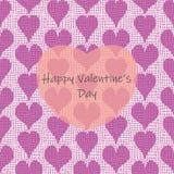 与用大透明心脏覆盖的帆布织地不很细手拉的心脏行的愉快的情人节贺卡模板  库存例证