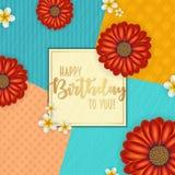 与用花和葡萄酒减速火箭的背景装饰的框架的生日贺卡 库存图片