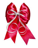 与由丝绸做的银色丝带的红色弓 免版税库存照片