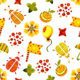 与甲虫的图象的无缝的样式 水彩印刷品,贴纸,背景,卡片设计的动画片例证, 库存例证
