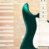 与电吉他的抽象难看的东西钢琴背景 免版税库存图片