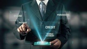 与电子商务概念的商人从词选择付款 股票录像