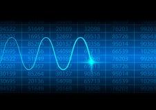 与电子波浪的抽象数字式数字 免版税库存照片