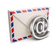 与电子邮件标志的邮件信件。3D被隔绝的象 免版税图库摄影