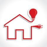 与电灯泡和插件的架线的家庭图标 库存照片