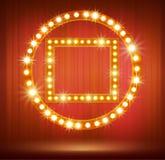 与电灯泡灯和星的亮光框架您的设计的 图库摄影