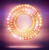 与电灯泡灯和星的亮光框架您的设计的 库存照片