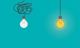 与电灯泡的企业概念作为想法,创造性的标志,认为概念 图库摄影