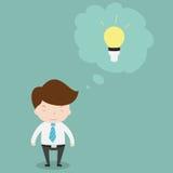 与电灯泡的商人在他的头 向量例证