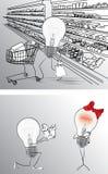 与电灯泡的图画 免版税库存图片