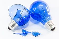 与电灯泡的想法概念 免版税图库摄影