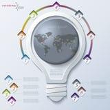 与电灯泡的抽象例证Infographic 免版税库存照片