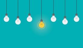 与电灯泡的明亮的想法和洞察概念 平的样式例证 库存图片