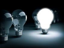 与电灯泡的特别想法概念 库存图片