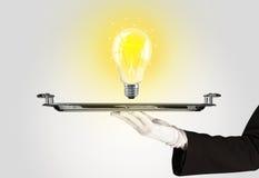 与电灯泡的聪明的想法概念在盘子 库存照片