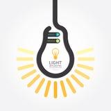 与电灯泡线横幅的Infographic模板 概念 免版税库存图片