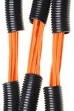 与电缆的波纹状的管道 免版税库存照片