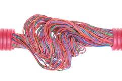 与电缆的波纹状的管道 免版税库存图片